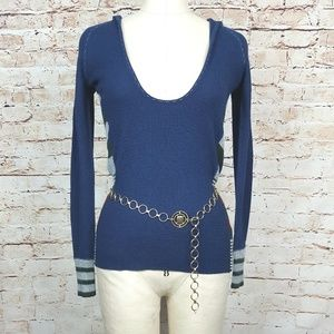 FREE PEOPLE|Blue Hooded Knit Sweater Size XS